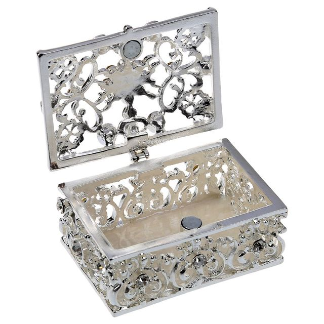 Exceptional Small Rhinestone Embellished Hollow Jewelry Storage Gift Trinket Box Silver