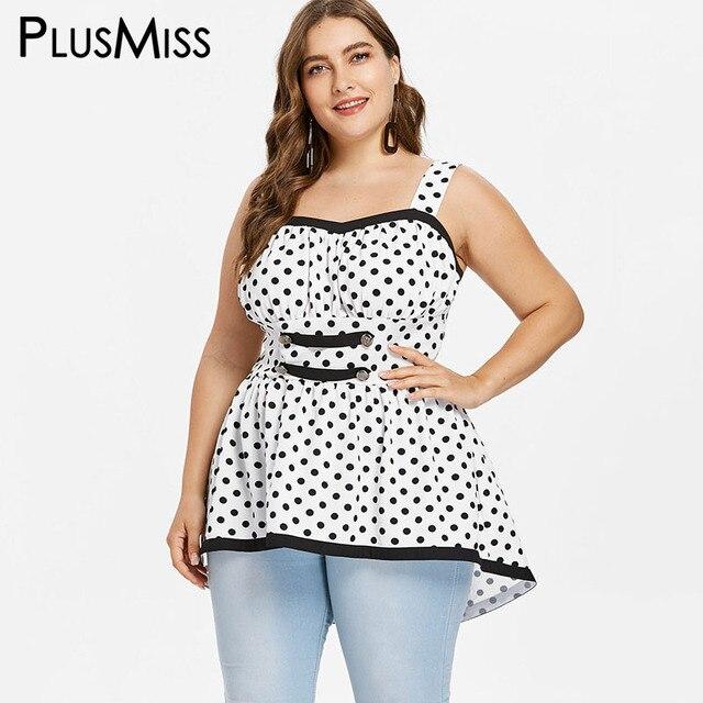ad7942376fb61 PlusMiss Plus Size 5XL Polka Dot Long Tunic Tank Top Women Clothes Big Size  Sleevelees Vests Top Ladies Summer XXXXL XXXL XXL