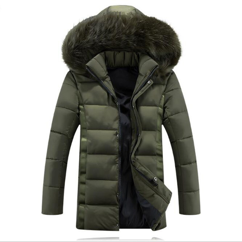 2016 Men Fashion Winter Silm Down Cotton Hooded Collar Parkas Coat Thick Warm Zipper Cotton padded