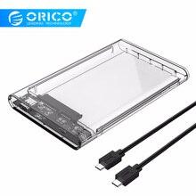 ORICO Тип C 2,5 дюймов прозрачный корпус для внешнего жесткого диска USB3.1 Gen2 жесткого диска вспомогательное устройство протокола UASP с Тип с разъемами типа C и C кабель