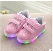 Fashion LED luminous for kids children casual shoes glowing usb charging boys & girls sneaker with colors light up new shoes(China)