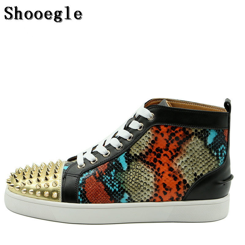 SHOOEGLE Men Sneakers High-top Casual Shoes Men Patchwork Spike Shoes Rivets Platform Motorcycle Mens Ankle Boots Zapatos HombreSHOOEGLE Men Sneakers High-top Casual Shoes Men Patchwork Spike Shoes Rivets Platform Motorcycle Mens Ankle Boots Zapatos Hombre