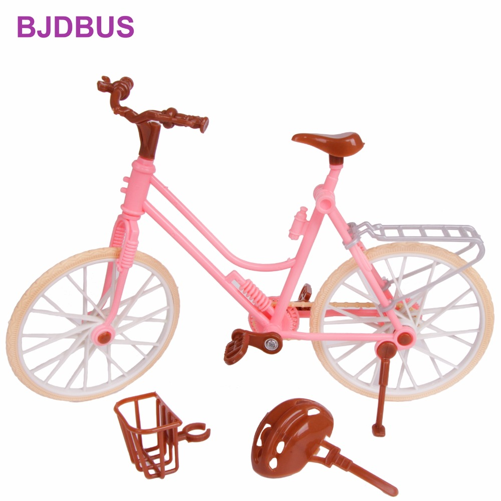 High Quality Pink Bicycle Detachable Fashion Bike With Brown Plastic Helmet Basket For Barbie Doll 1/6 Accessories Kids Toy Gift high quality doll head brown curly hair long eyelashes with fashion earrings diy gift accessories for 1 6 12 doll kids toy gift