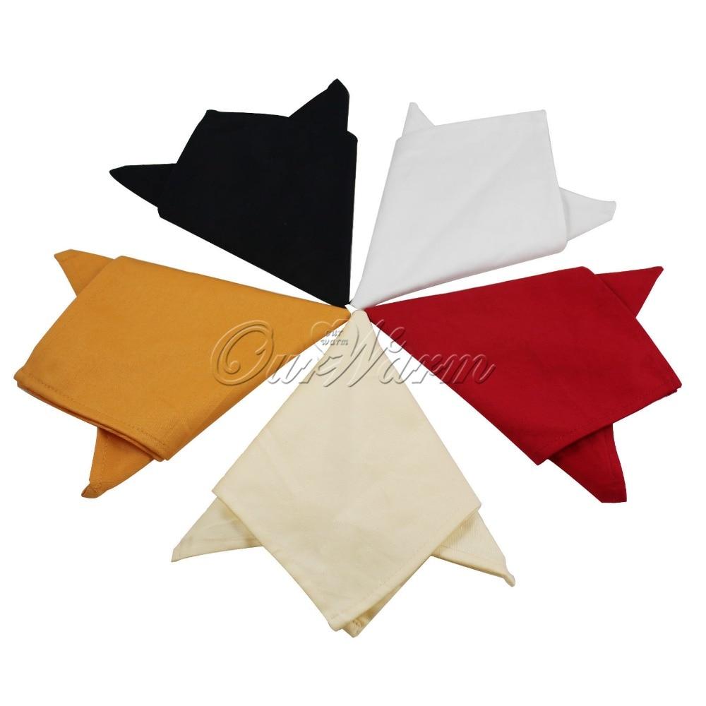 12pcs/lot Pure Cotton Square <font><b>Napkin</b></font> Handkerchief Hanky for Wedding Party Banquet Dinner Table Decoration Many Color Optional