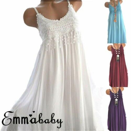 Women's Summer Boho Casual Night Dress 2019 New Ladies Lace Sleepwear Sleeveless Women Clothes