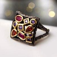 Винтаж перстни Разноцветные кристаллы квадратной формы полую конструкцию Модные украшения черный золотой линии Цвет ful коктейльное кольцо