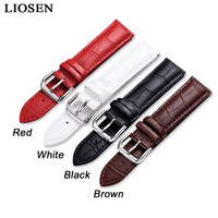 LIOSEN Genuine Leather Buckle Strap Watch Band Charm Red White Black Brown Men and Women Watch Strap 14 16 18 19 20 21 22 24mm