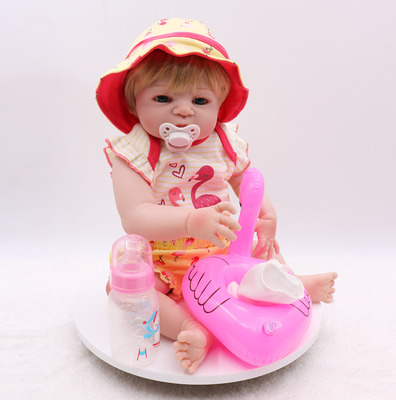 55CM Full Silicone Body Reborn Baby Girl Doll Vinyl Flamingo swimsuit Babies Bebe Bathe Accompanying Toy Birthday Gift Brinquedo in Dolls from Toys Hobbies