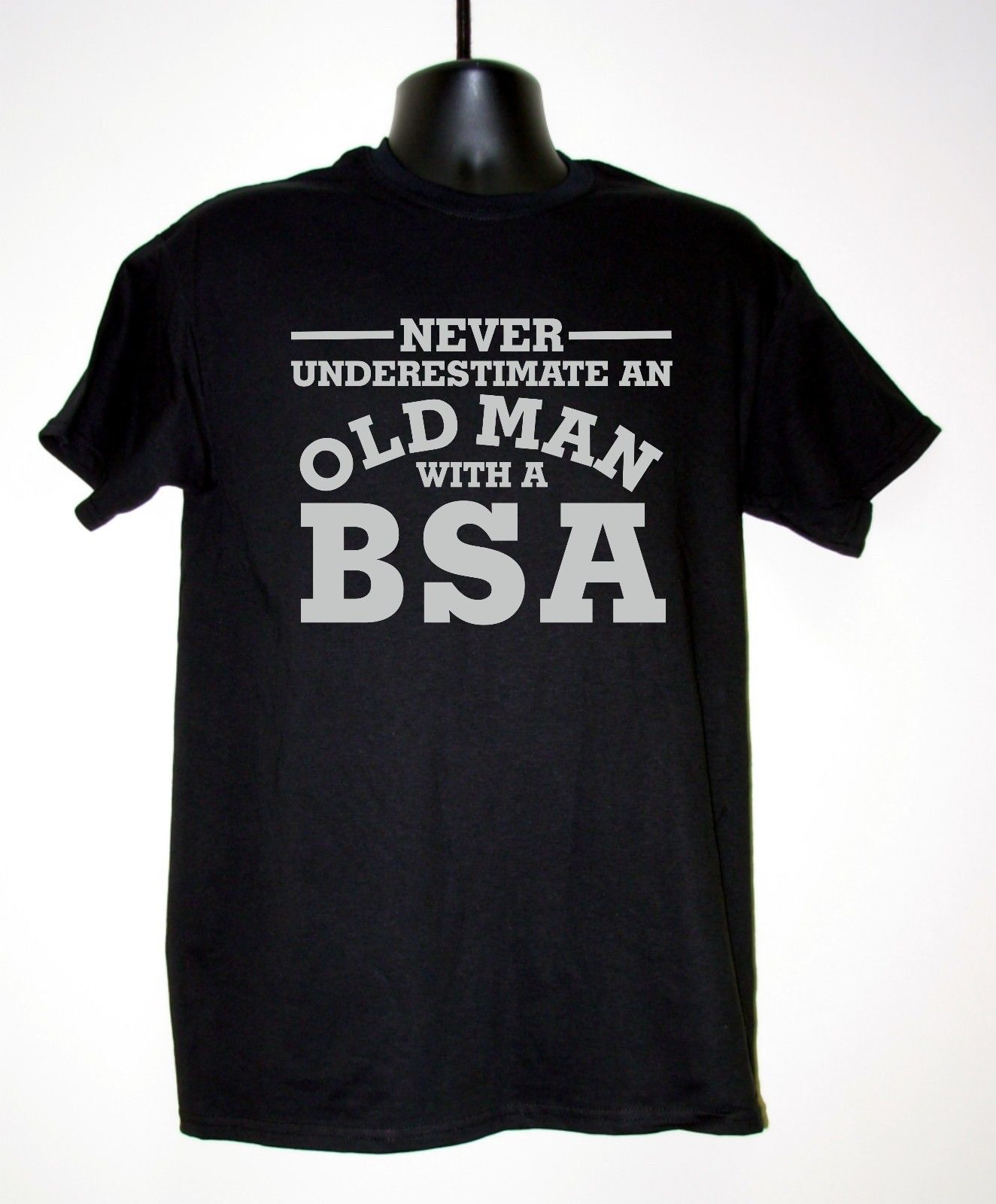 MEN'S LICENSED MOTORBIKE T-<font><b>SHIRT</b></font> -NEVER UNDERESTIMATE OLD MAN WITH <font><b>BSA</b></font> S-3XL New T <font><b>Shirts</b></font> Funny Tops Tee New Unisex Funny Tops image
