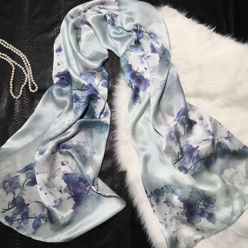 DANKEYISI Alta Qualidade 100% Lenço De Seda Das Mulheres Real Natural Longos Lenços De Seda Xale Feminino Hijab Envoltório Da Praia do Verão- ups