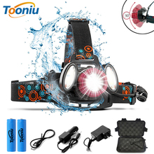Super bright LED Headlamp 1T6+2COB Headlight Zoomable 4 lightingmodes Fishing light Used for camping adventures, hunting, etc.