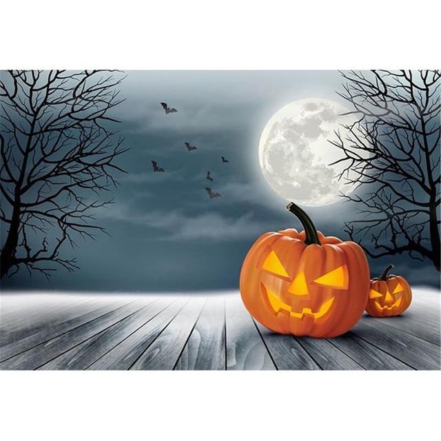 Grey Sky Full Moon Night Backdrop Wood Floor Printed Trees Bat Pumpkin Lanterns Kids Children