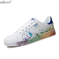 Girls Brand White Shoes Mix Colors Ink Painting Style Woman Shoes Colorful White Ladies Shoes Plus