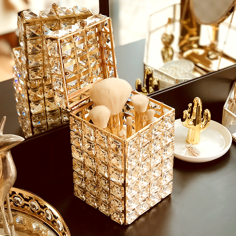 Crystal Lipstick Holder Makeup Organizer Necklace Dressing Table Makeup Brush Jewelry Pearl Storage Box Decor Ornaments Tray Storage Boxes Bins Aliexpress
