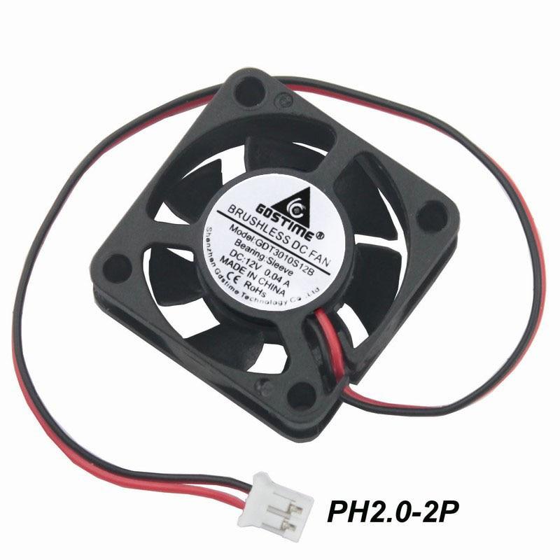 2pcs Mini DC 12V 2Pin 3cm 30mm 30x30x10mm Brushless Computer Cooling Fan 7Blades