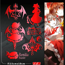 PowerAngel 3D DIY Metal Stickers TouHou Project Anime Sticker Mobile Phone Laptop Waterproof Decorative Stickers