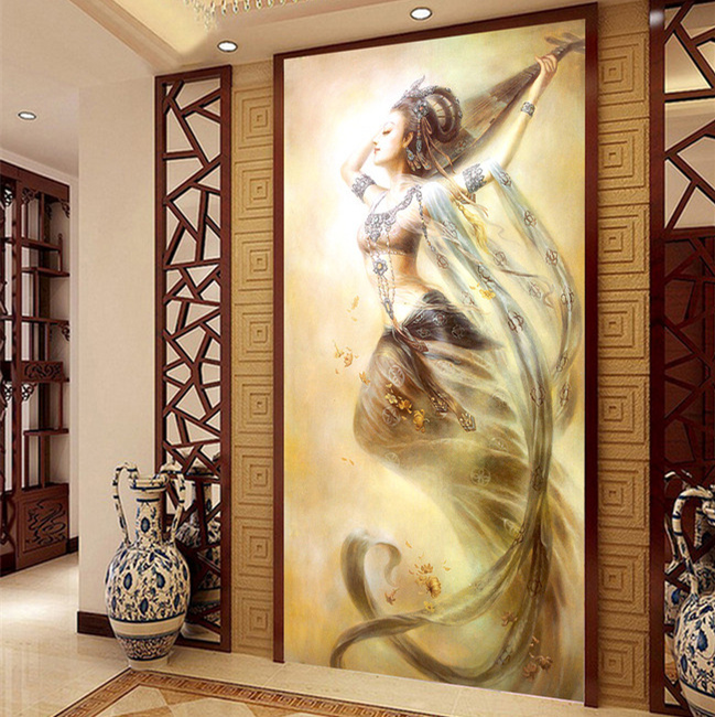 Aliexpress Com Buy 3d Chinese Wall Art Home Decor Background Canvas The Living Room Entrance Buddhist