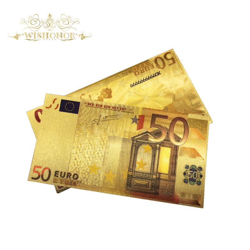 10pcs/lot Europe Color <font><b>Banknotes</b></font> <font><b>50</b></font> <font><b>Euro</b></font> <font><b>Banknote</b></font> in 24K Gold Foil <font><b>Fake</b></font> Paper Money Replica For Hot Sales image
