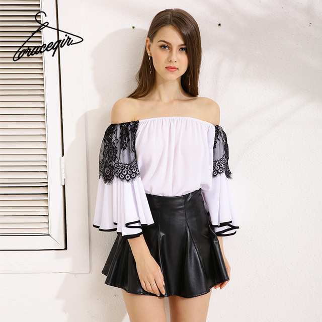 Gracegirl 2017 Summer Women Tops Series Spring Fashion Slash Mesh Patchwork Flare Sleeve Chiffon Blouse Shirt For Woman KW172001