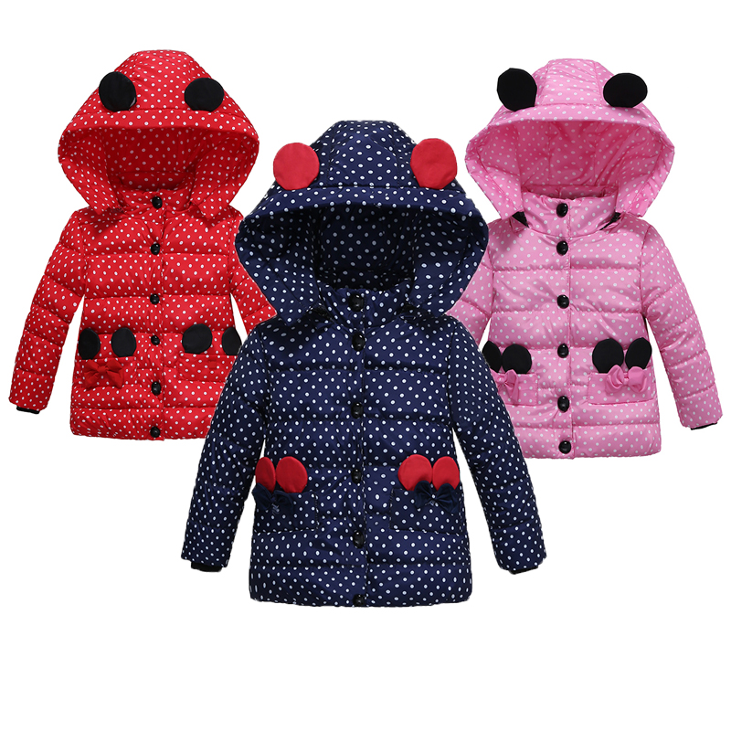 5 Color Keeping Warm Girls Jackets Autumn And Winter Cute Dot Hooded Kids Jacket Cotton Five Buckle Girls Coat Kid Clothes