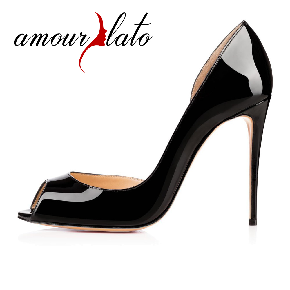 Amourplato Ladies Hi-Fashion Sweet Women Handmade Fashion Aimi Youernis 100mm Peep Toe Sexy Party High Heel Pumps