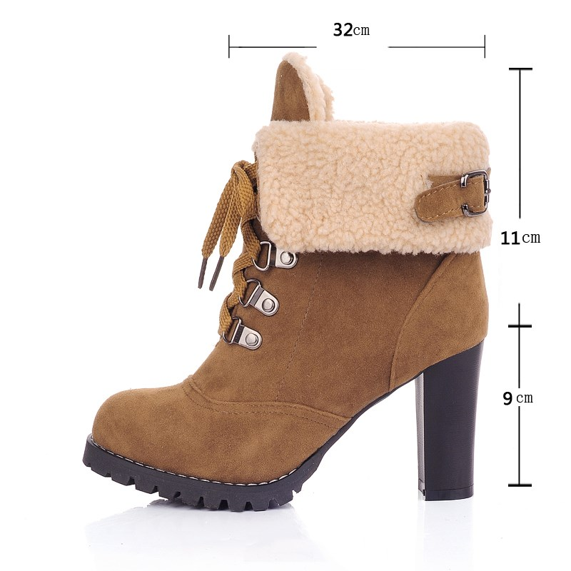 Shuangxi.jsd Winter Luxury Design Women Boots Non-slip High-heeled Matte Booties Plus Size High Quality Keep Warm Woman Shoes