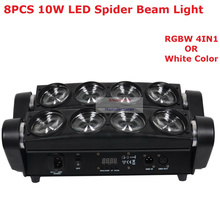 цена на Free Shipping RGBW 4IN1 Led Spider Beam Light High Quality 8X10w Bar Beam Moving Head Stage Light For Party Wedding Nightclubs