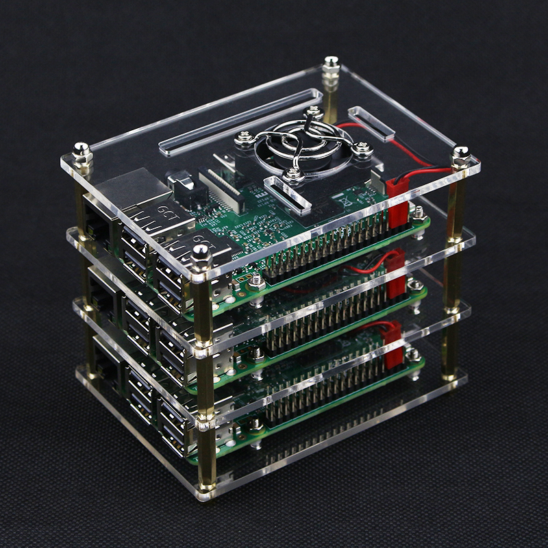 3 Layers Raspberry Pi 4 B Transparent Acrylic Case Box + 3 X Cooling Fan+ Protection Cover For Raspberry Pi 2/3 Model B+