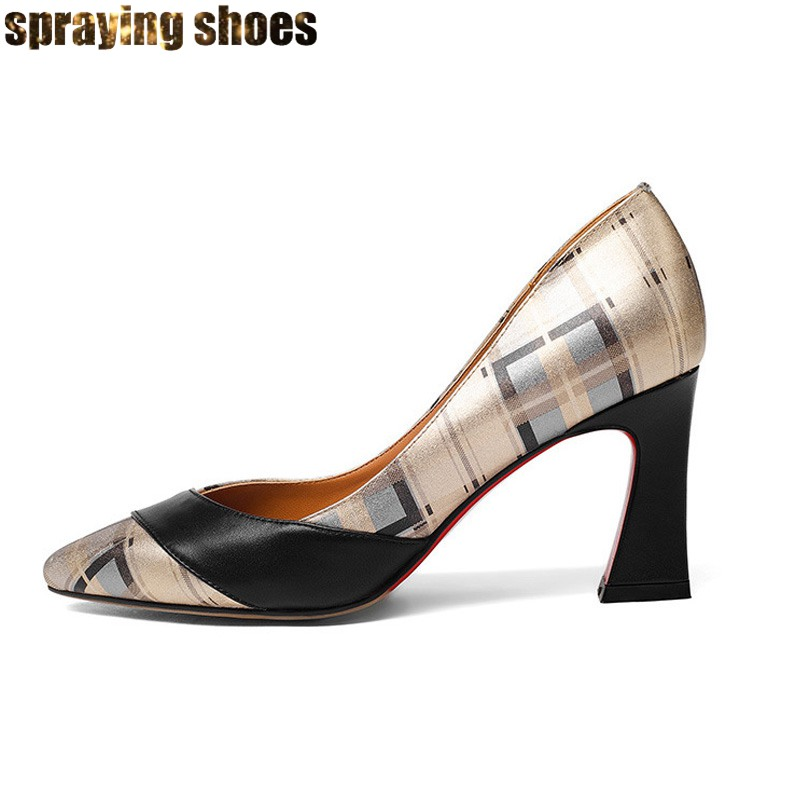 Fashion Plaid Print Genuine Leather Women Chunky High Heels Pumps Pointed Toe <font><b>Sexy</b></font> Ladies Summer Pumps <font><b>Shoes</b></font> Big <font><b>Size</b></font> <font><b>11</b></font> image