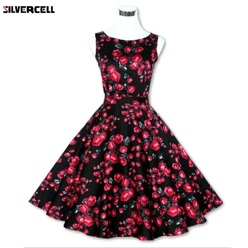 2017 Vintage Women 50s 60s Floral Print Rockabilly Tutu Pinup Sleeveless Ball Gown Evening Party Clubwear Formal Dress