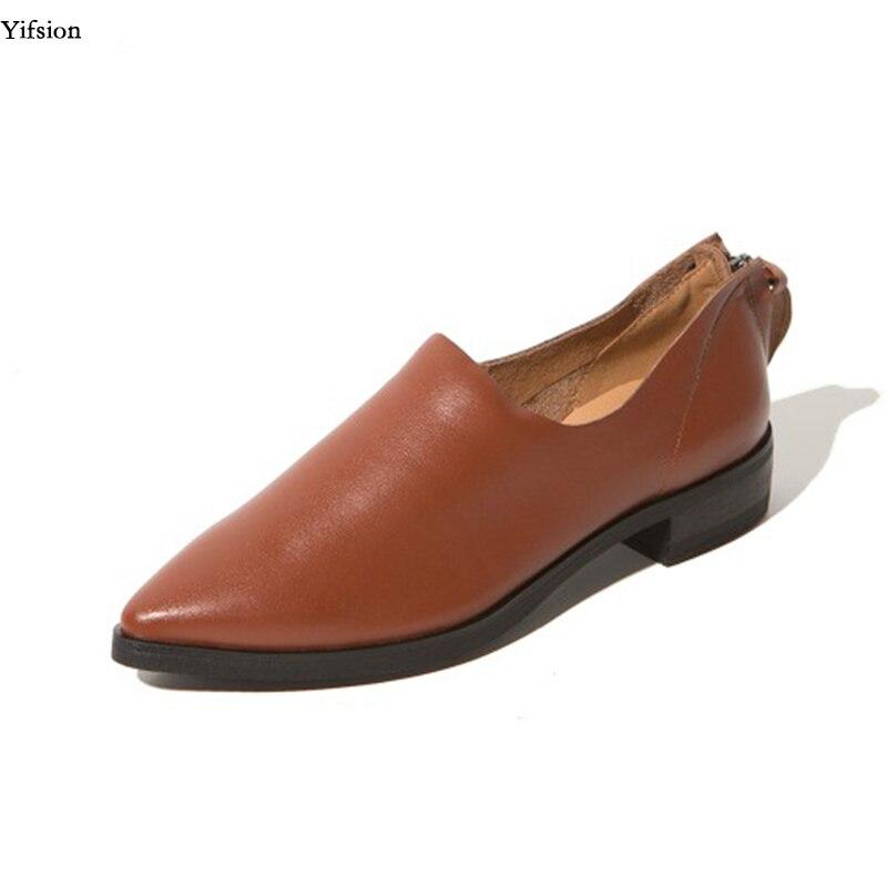 Appartements Chaussures 9 Yifsion Carrés Élégant Sexy Confort Noir Partie Bout 3 Pointu D0748 Brown Nous Brun Bas Taille Talons Cuir Femmes En d0748 Black HZwqrtZ