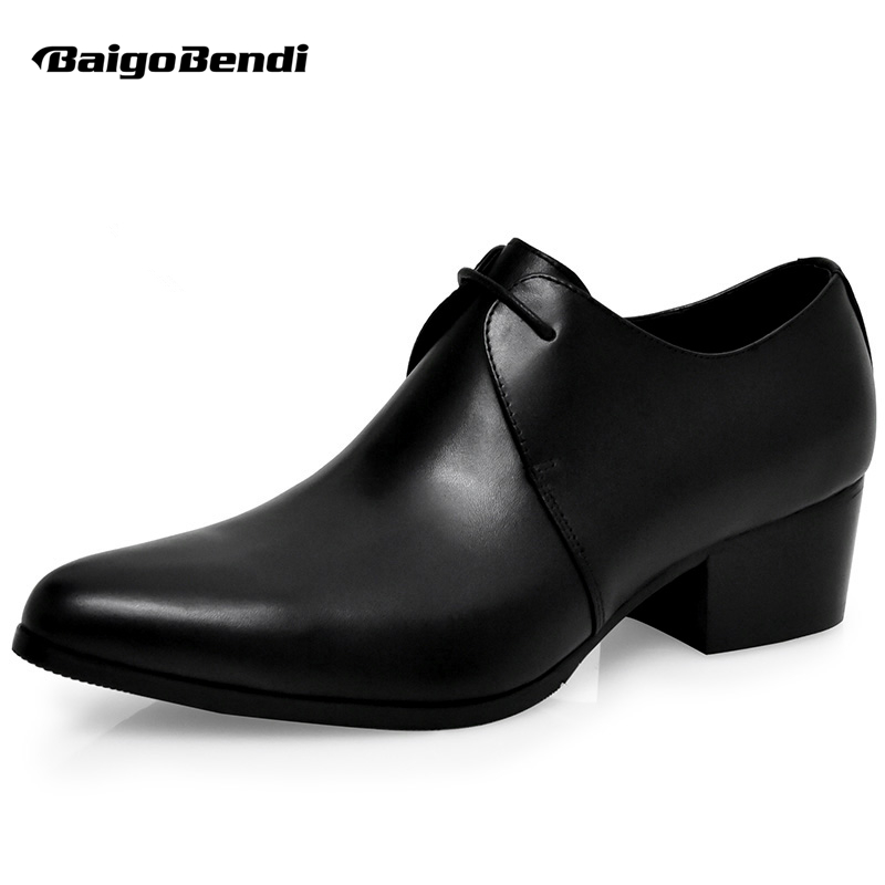 Hight End Men Real Leather High Heel Shoes Man Thick Heel OXfords Height Increasing Wedding Shoes Trendy Heighten Shoes hight end full grain leather men lace up high heel shoes man thick heel black formal dress height increasing heighten shoes