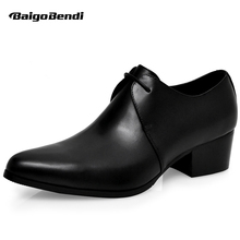 Hight End Men Real Leather High Heel Shoes Man Thick OXfords Height Increasing Wedding Trendy Heighten