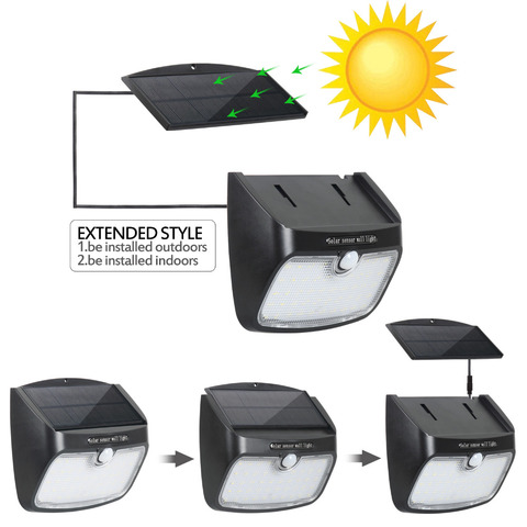 t sunrise holofotes solar ao ar livre sensor