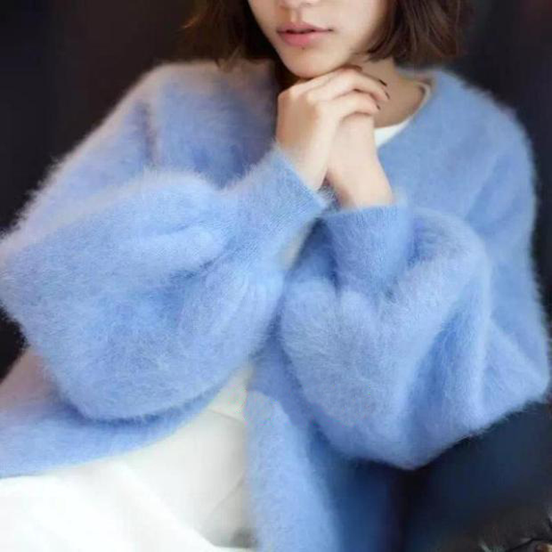 Sweet V-neck Knitted Cardigan Imitation Cashmere Sweater Coat Hand Knit Mohair Jacket Long Lantern Sleeved Faux Mane Fur Tops