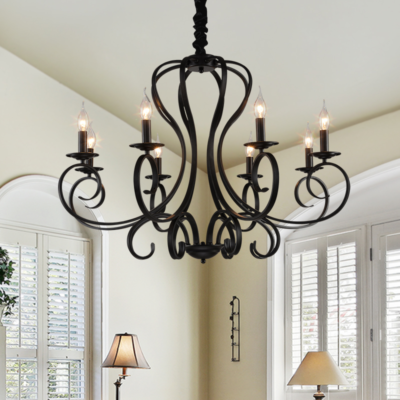 Wrought Iron black Chandelier E14 Candle Black Vintage Antique Home Chandeliers hotel restaurant living room hanging