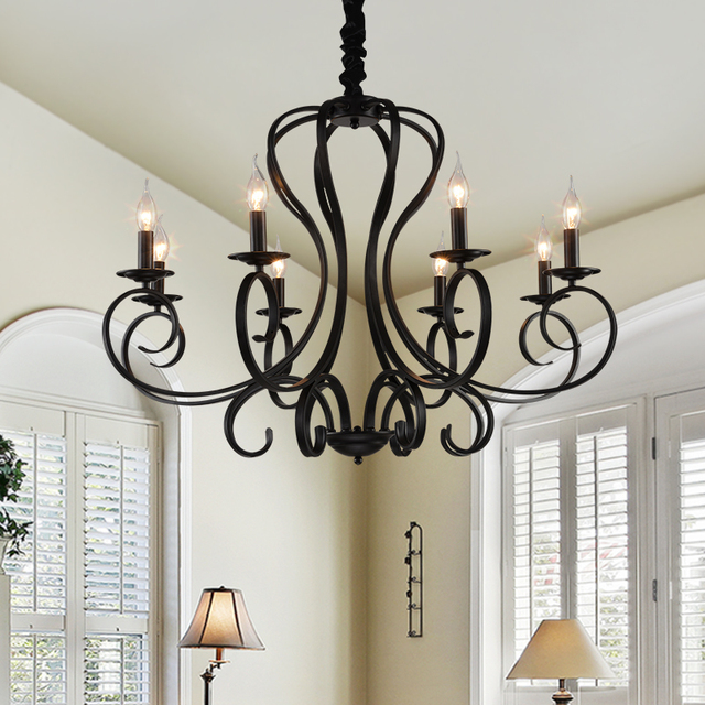 Wrought iron black chandelier e14 candle black vintage antique wrought iron black chandelier e14 candle black vintage antique home chandeliers hotel restaurant living room hanging mozeypictures Gallery