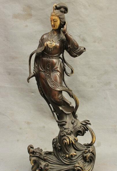 Бронзовый украшения чистой латуни хорошее соотношение Lucky 19 Китай Буддизм Чистая Бронзовый Молитесь Гуаньинь Кван Инь бодхисаттвы Goddess ста
