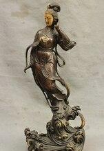 bronze Decoration Pure Brass Good value Lucky 19 China Buddhism Bronze Pray GuanYin Kwan-yin Boddhisattva Goddess Statue