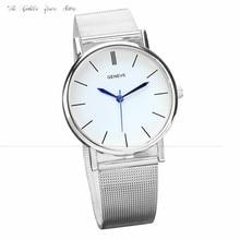 Novo 2016 relógios relógio horas presente Moda Geneve Banda Quartzo De Aço Inoxidável Relógios de Pulso das Senhoras das Mulheres SL 1130d20