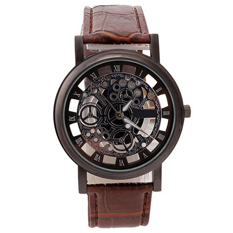 Men Business Watch Waterproof Casual  Sport Clock Hollow  Quartz-Watches Student Leather Band  Wristwatches Relogio Masculino