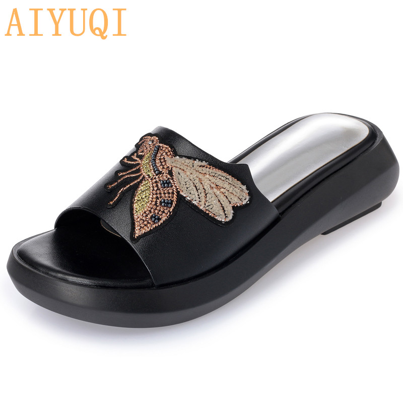 AIYUQI Slippers for women 2019 new summer women 39 s slippers genuine leather casual flat fashion sandals with open toe red shoes in Slippers from Shoes
