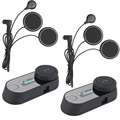 2 unids 2016 Versión TCOM-SC BT Interphone Bluetooth Casco de La Motocicleta Intercom Headset pantalla LCD FM Radio + Auricular Suave