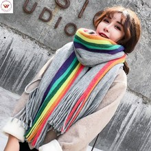 2019 Promotion Hijab Winter Scarf Autumn And New Rainbow Strip Double-sided Imitation Cashmere Thick Female Warm Korean Version