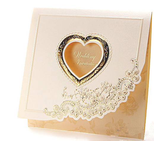 embossed lace heart cut out wedding invitations cards square golden