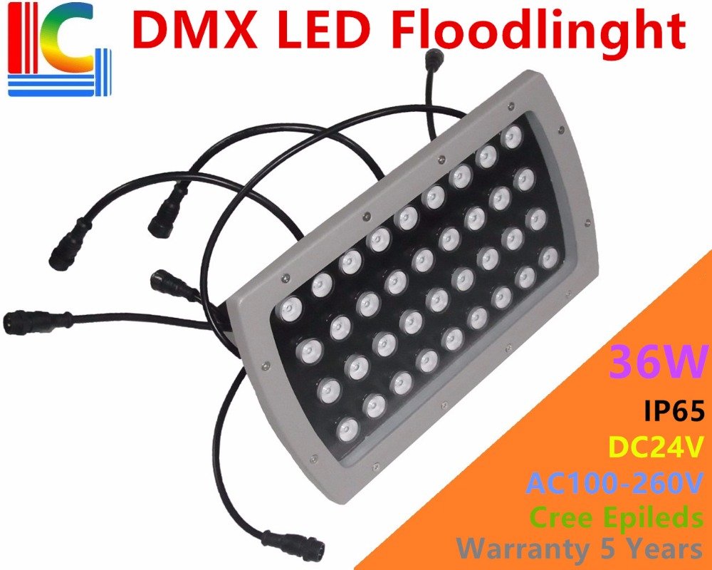 High quality 36W LED Floodlights IP65 Waterproof outdoor Landscape Lighting DMX512 Control RGB colorful spotlight CREE LEDs CE