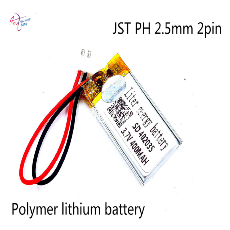 XHR-2P 2.54 <font><b>402035</b></font> core 400mAh <font><b>3.7V</b></font> polymer <font><b>battery</b></font> MP3 mobile speaker GPS loudspeaker story machine image