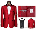 2016 Chegada Nova Rosa Vermelho Um Botão Dos Homens Ternos de Marca de Luxo homens da moda vestido de Terno e Calças de casamento Prom noivo slim fit ternos