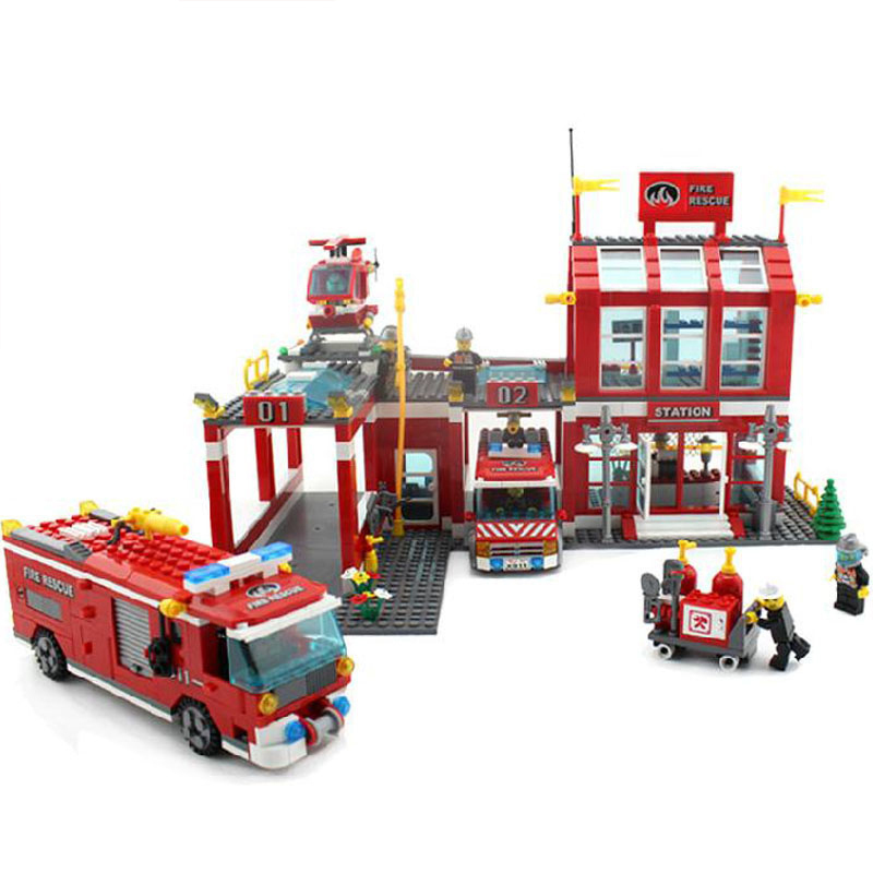 model building kits compatible with lego city fire center 848 3D blocks Educational model & building toys hobbies for children