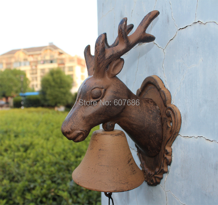 Rustic Cast Iron MOOSE Elk with Antlers WELCOME Dinner Bell Indoor Outdoor Wall Home Office Bar Shop Store Decor Free shipping